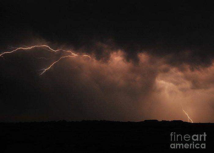 Badlands National Park Greeting Card featuring the photograph Badlands Lightning by Chris Brewington Photography LLC