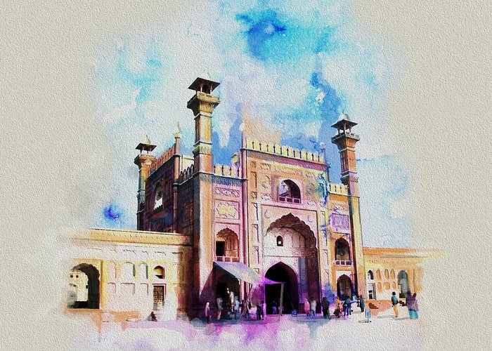 Pakistan Greeting Card featuring the painting Badshahi Mosque Gate by Catf