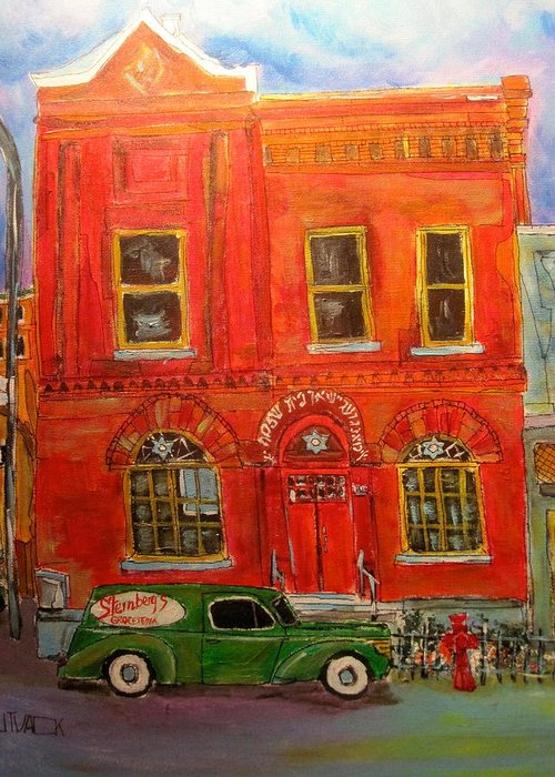Montreal Greeting Card featuring the painting Bagg Street Shul by Michael Litvack