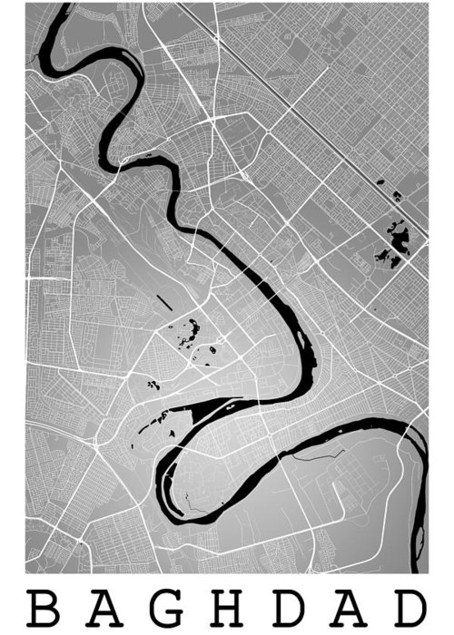road map greeting card featuring the digital art baghdad street map baghdad iraq road map