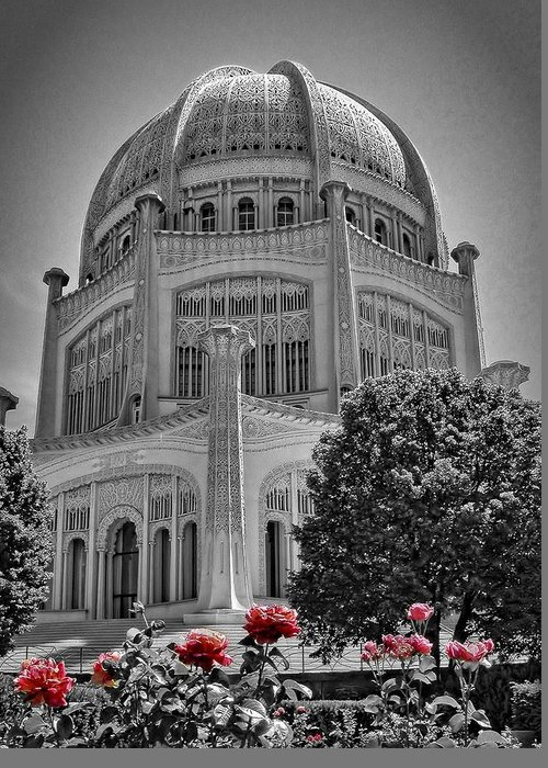 Architecture Greeting Card featuring the photograph Bahai Temple Wilmette In Black And White by Rudy Umans