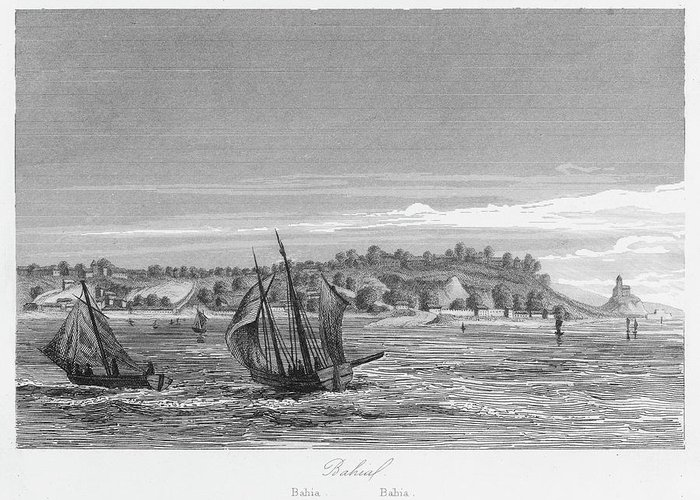 Brazil Greeting Card featuring the drawing Bahia, Salvador, Brazil   Date 1846 by Mary Evans Picture Library