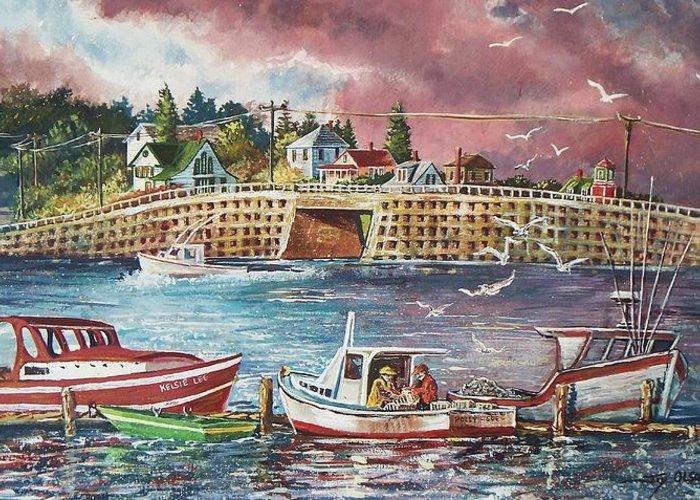 Bailey Island Crib Stone Bridge Greeting Card featuring the painting Bailey Island Cribstone Bridge by Joy Nichols