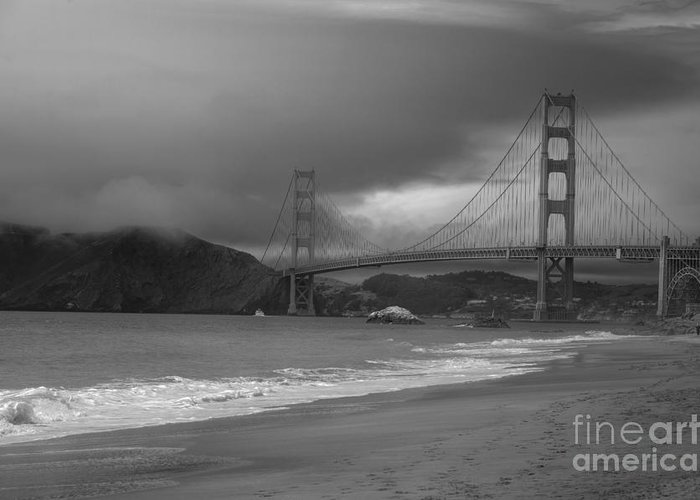 Black And White Greeting Card featuring the photograph Baker Beach View by David Bearden