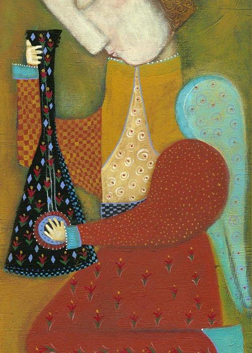 Angel Greeting Card featuring the painting Balalaika Angel by Rose Walton