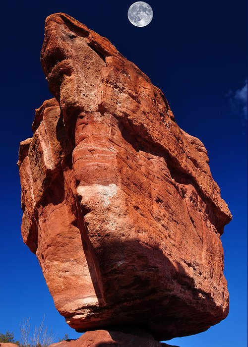Awe Greeting Card featuring the photograph Balanced Rock At Garden Of The Gods With Moon by John Hoffman