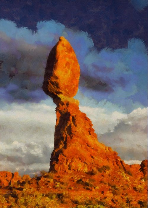 Utah Greeting Card featuring the digital art Balanced Rock At Sunset Digital Painting by Mark Kiver