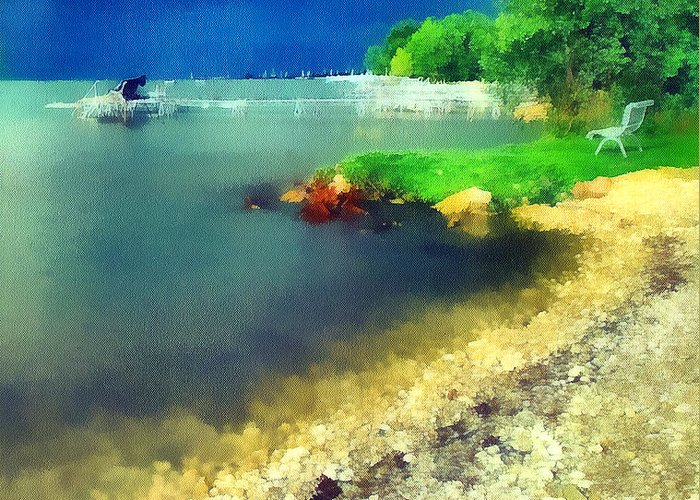 Odon Greeting Card featuring the painting Balaton Lake Shore by Odon Czintos