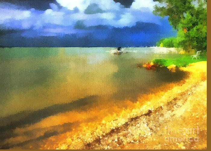 Acrylic Greeting Card featuring the painting Balaton Shore by Odon Czintos