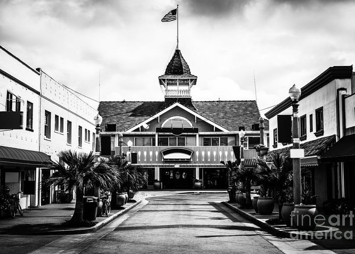 America Greeting Card featuring the photograph Balboa California Main Street Black And White Picture by Paul Velgos
