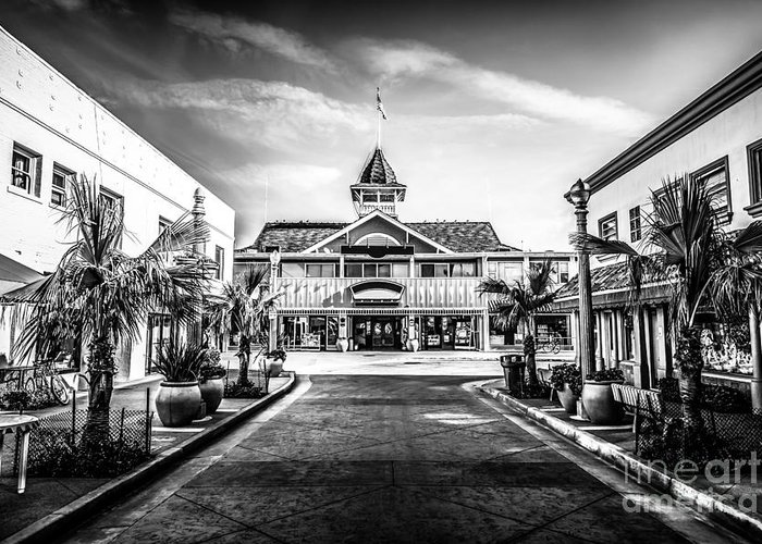America Greeting Card featuring the photograph Balboa Pavilion Newport Beach Black And White Picture by Paul Velgos