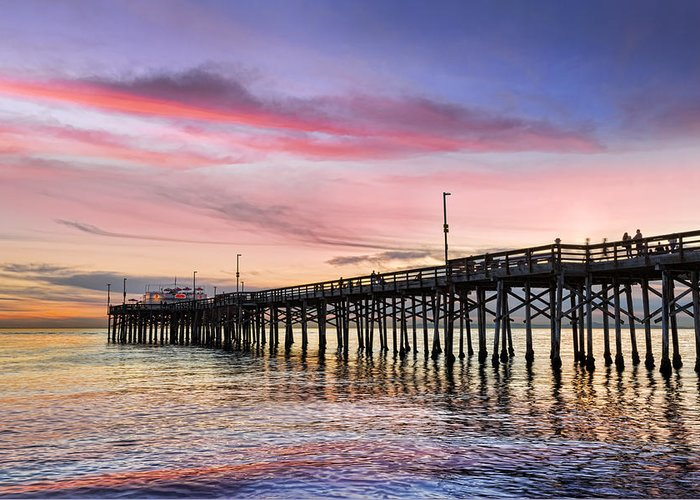 Balboa Greeting Card featuring the photograph Balboa Pier Sunset by Kelley King
