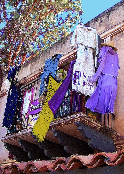 Hanging Clothes Greeting Card featuring the photograph Balcony by Ben and Raisa Gertsberg