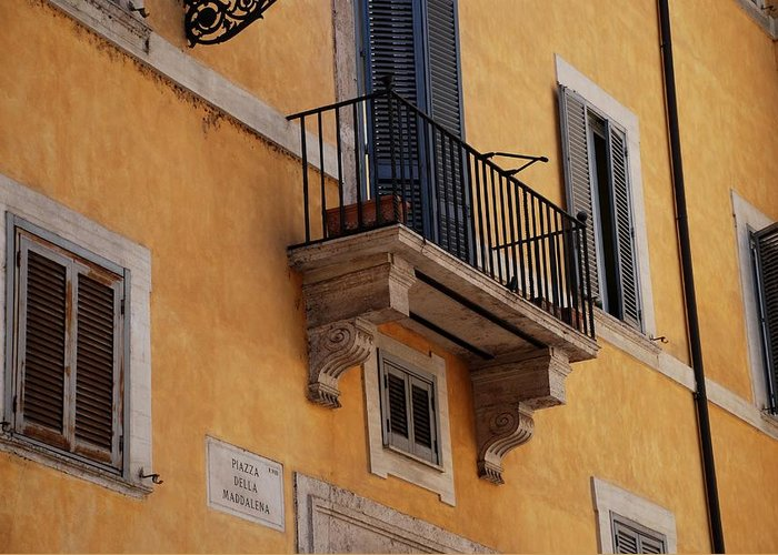 Rome Greeting Card featuring the photograph Balcony Piazza Della Madallena In Roma by Dany Lison