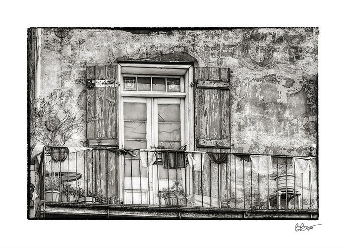Balcony Greeting Card featuring the photograph Balcony View In Black And White by Brenda Bryant