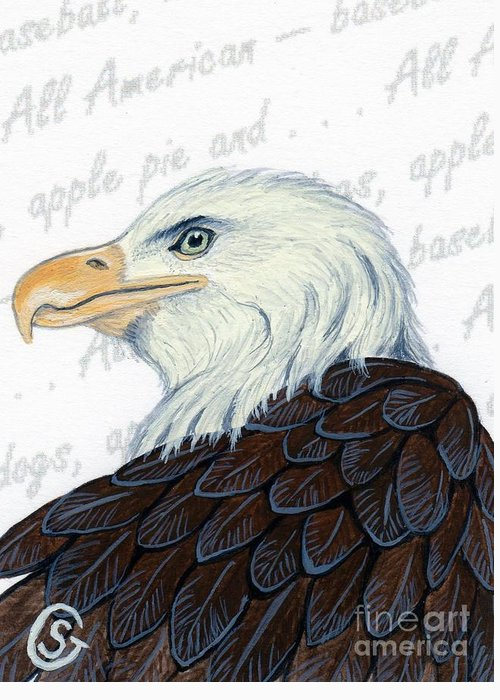 Bald Eagle Greeting Card featuring the painting Bald Eagle -- Proud To Be An American by Sherry Goeben