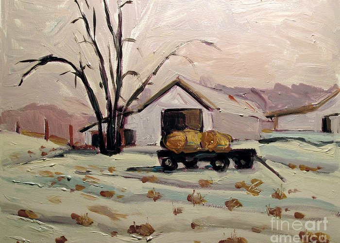 Landscape Greeting Card featuring the painting Bale Wagon by Charlie Spear