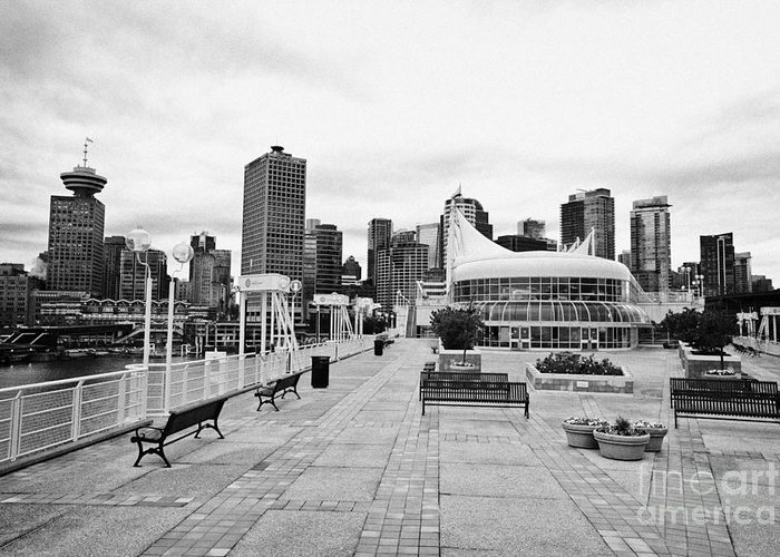 Vancouver Greeting Card featuring the photograph balentien pier canada place and Vancouver waterfront skyline BC Canada by Joe Fox