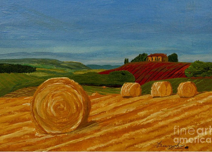 Hay Greeting Card featuring the painting Field Of Golden Hay by Anthony Dunphy