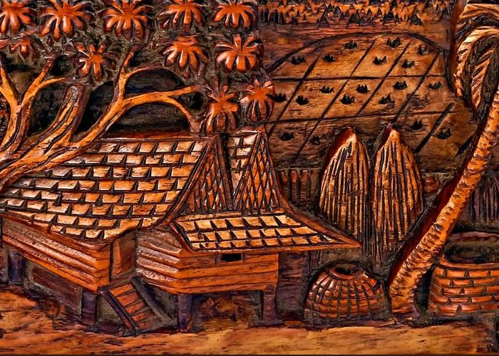 Bali Greeting Card featuring the photograph Bali Wood Carving by Steve Harrington
