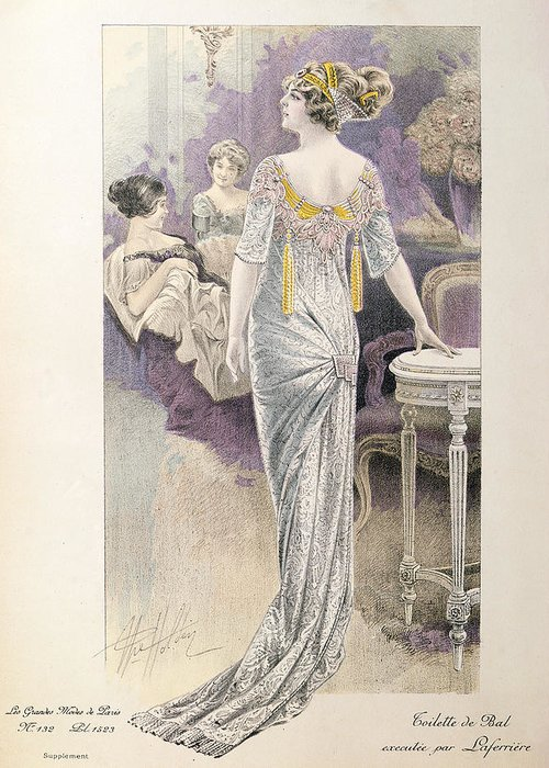 Evening Wear Greeting Card featuring the painting Ball Gown by French School