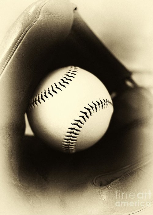 Ball In Glove Greeting Card featuring the photograph Ball In Glove by John Rizzuto