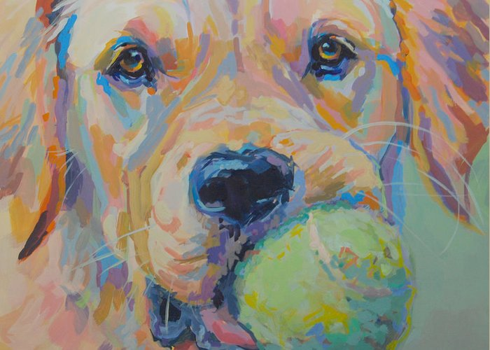 Golden Retriever Greeting Card featuring the painting Ball by Kimberly Santini