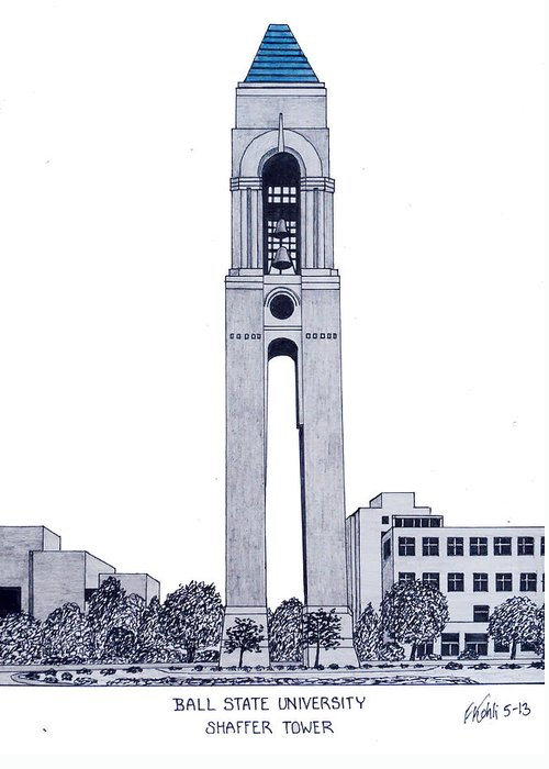 Ball State University Greeting Card featuring the drawing Ball State University by Frederic Kohli