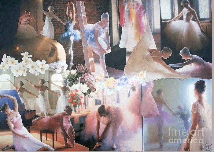Pictures Of Ballarinas At Work Or In Performance; Ballet; Stage Greeting Card featuring the mixed media Ballarina Beauty - Sold by Judith Espinoza