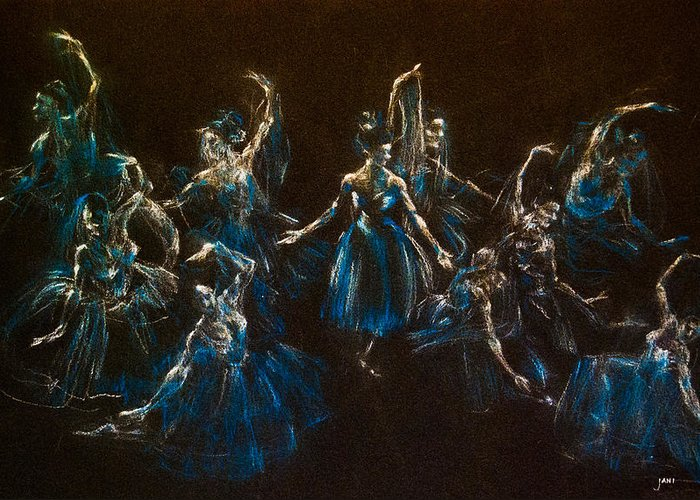 Ballerinas Greeting Card featuring the painting Ballerina Ghosts by Jani Freimann