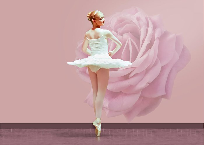 Ballet Greeting Card featuring the photograph Ballerina In White With Pink Rose by Delores Knowles
