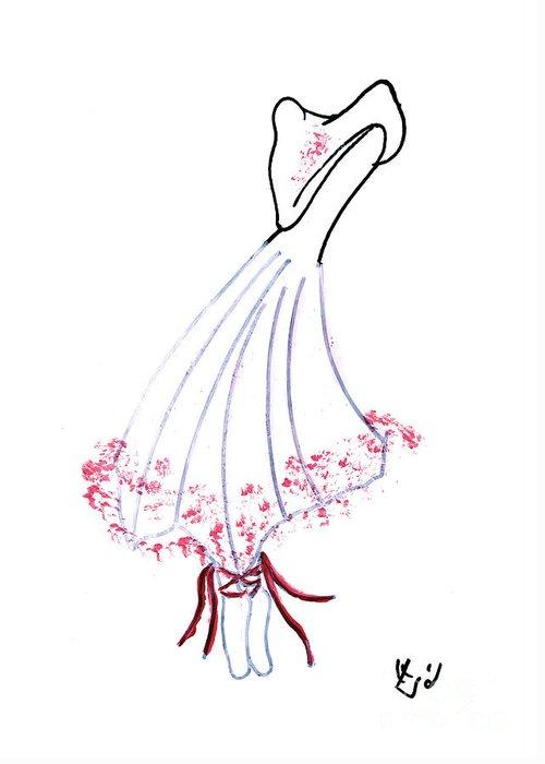 Greeting Card featuring the drawing Ballerina by Ingrid Barlebo-Larsen
