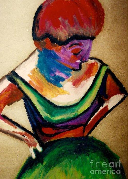 Abstract Human Ballerina Greeting Card featuring the pastel Ballerina by Jon Kittleson