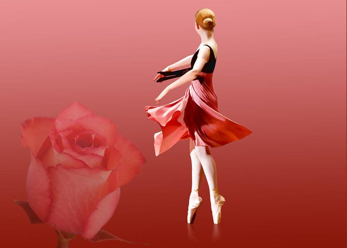 Ballet Greeting Card featuring the photograph Ballerina On Pointe With Red Rose by Delores Knowles