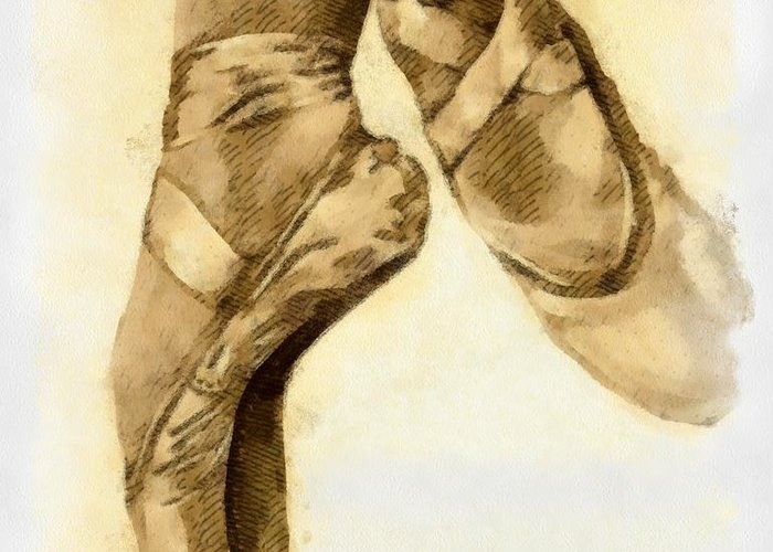 Artwork Greeting Card featuring the mixed media Ballerina Shoes by Yanni Theodorou