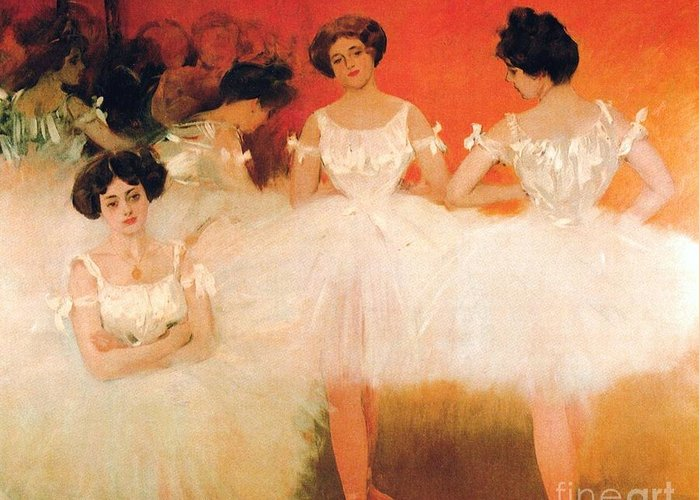 Pd Greeting Card featuring the painting Ballerinas Resting by Pg Reproductions