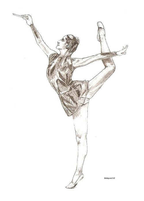 Drawing Greeting Card featuring the drawing Ballet A Pencil Study In Black And White by Mario Perez