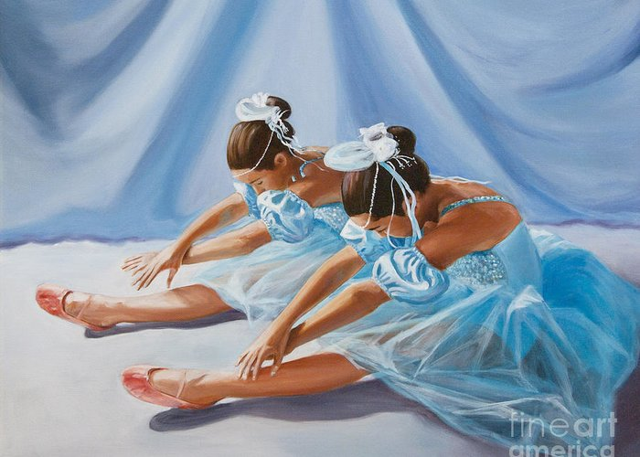 Ballet Dancers Greeting Card featuring the painting Ballet Dancers by Paul Walsh