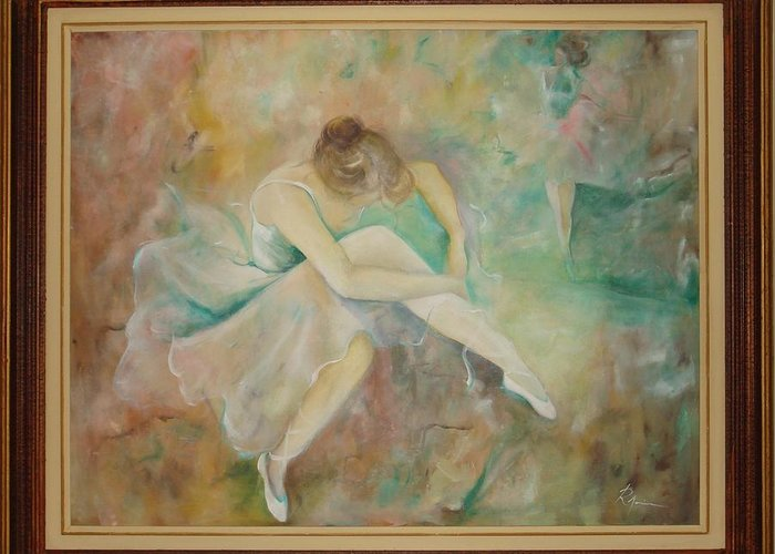 Ballet Dancers Greeting Card featuring the painting Ballet Dancers by Ri Mo