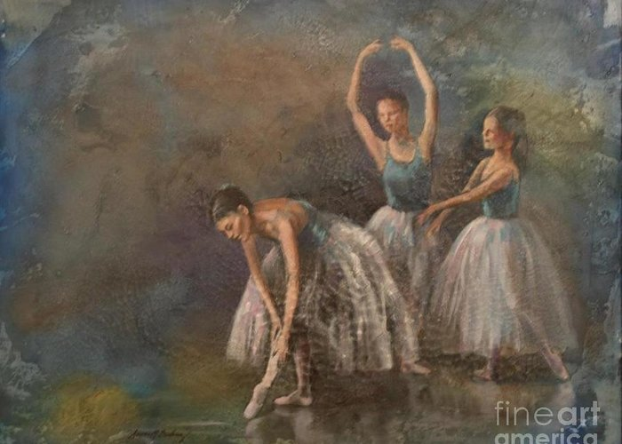 Ballet Dancers Greeting Card featuring the painting Ballet Dancers by Susan Bradbury