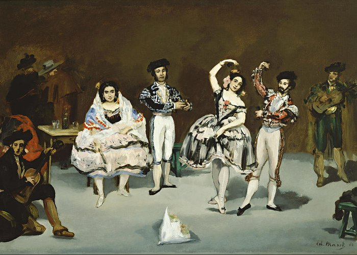 Edouard Manet Greeting Card featuring the painting Ballet Espagnol by Celestial Images