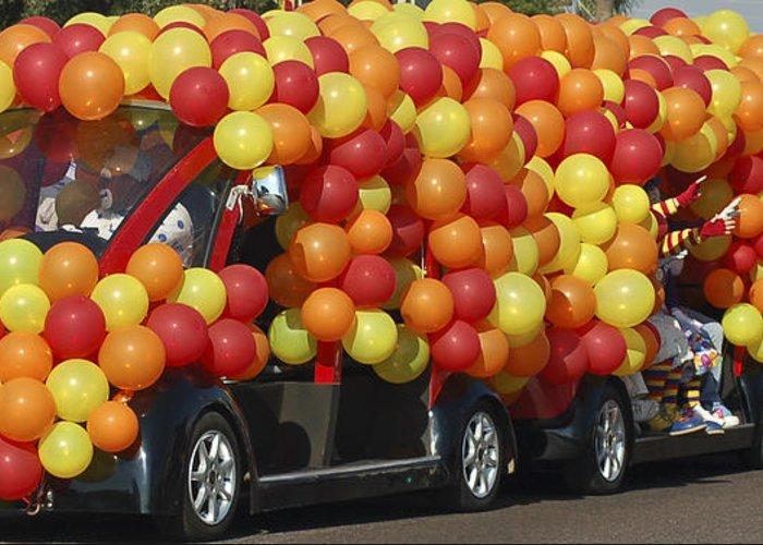 Clowns Greeting Card featuring the photograph Balloon Car by Jon Berghoff