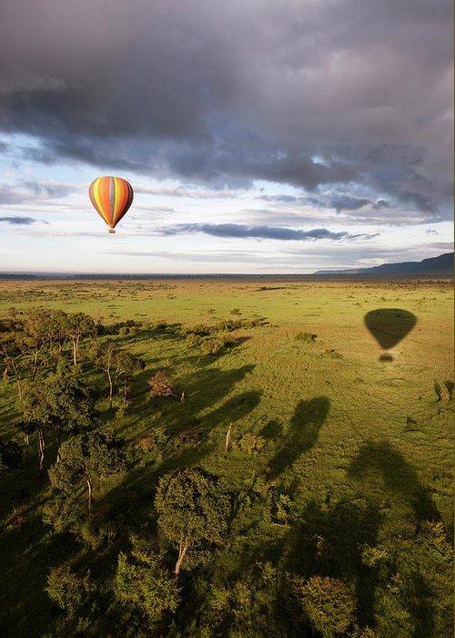 Kenya Greeting Card featuring the photograph Balloon In Masai Mara National Park by Luis Davilla