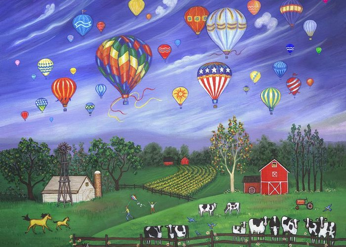 Landscape Greeting Card featuring the painting Balloon Race One by Linda Mears