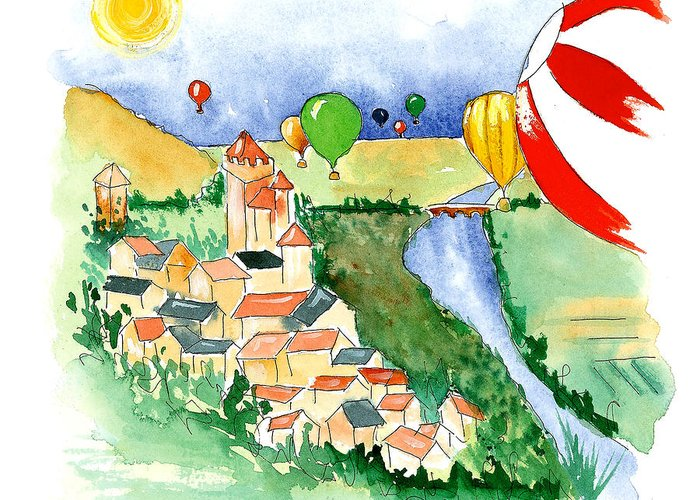 Illustrations Greeting Card featuring the mixed media Ballooning In France 2 by Leah Wiedemer