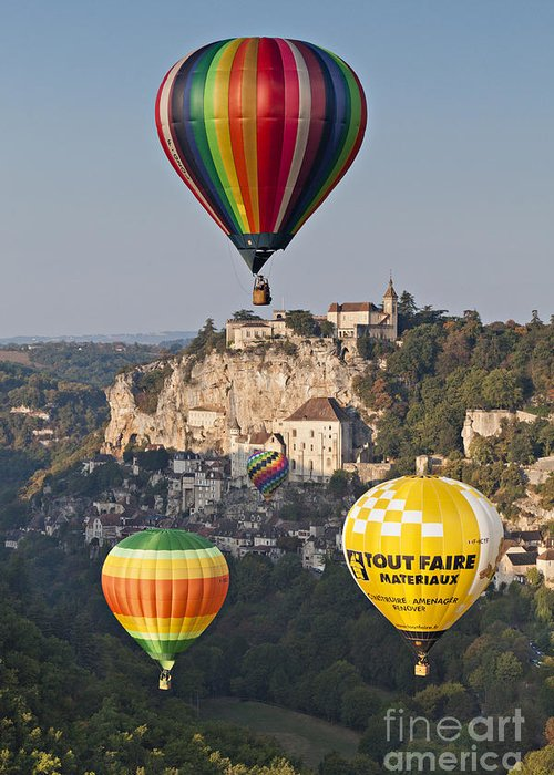 Balloons Greeting Card featuring the photograph Balloons At Rocamadour Midi Pyrenees France by Colin and Linda McKie