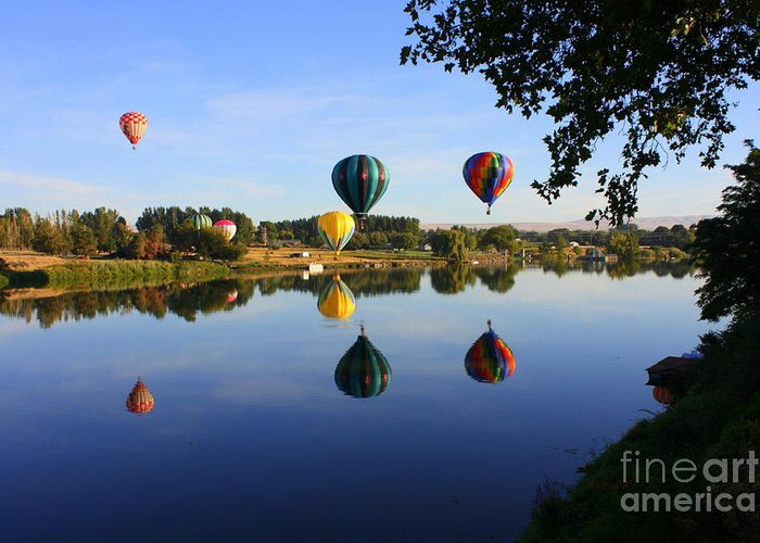 Hot Air Balloon Greeting Card featuring the photograph Balloons Heading East by Carol Groenen