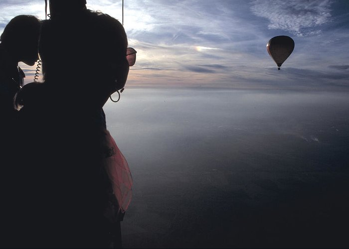 Woman Greeting Card featuring the photograph Balloons Over Burgundy by Carl Purcell