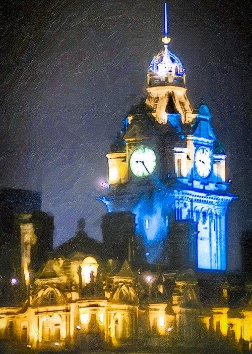 Edinburgh Greeting Card featuring the photograph Balmoral Clock Tower On Princes Street In Edinburgh by Mark E Tisdale