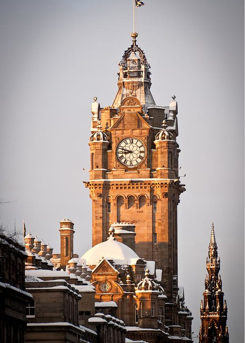 Balmoral Greeting Card featuring the photograph Balmoral Hotel Clock Tower by Paul Gibb